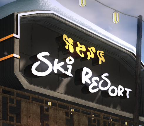 the logo on the ski lift settlement in panau type vacation resort ...