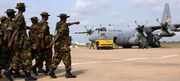 Nigerian troops with US C130
