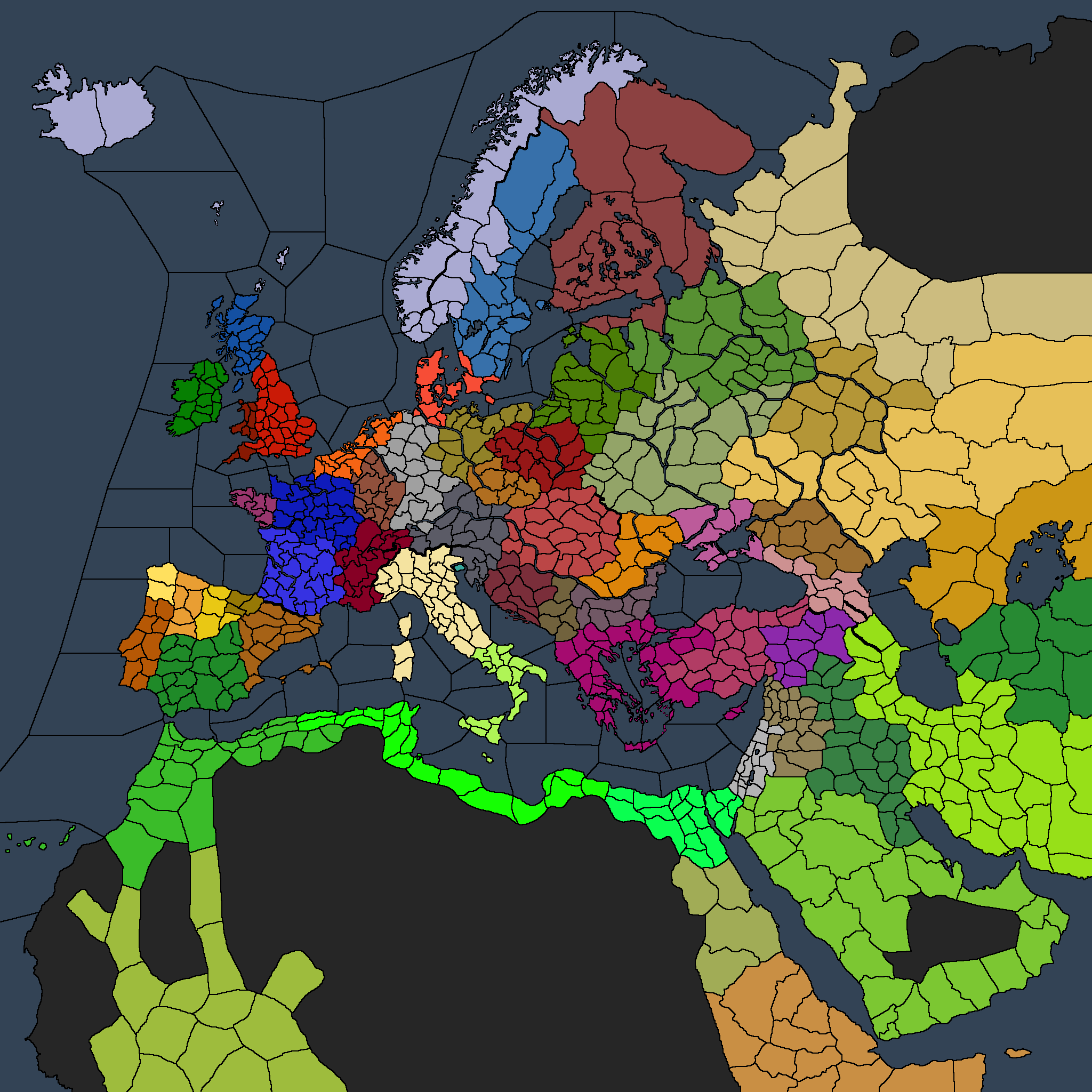 Labeled map of the De Jure Kingdoms at 867 Start Date : CrusaderKings