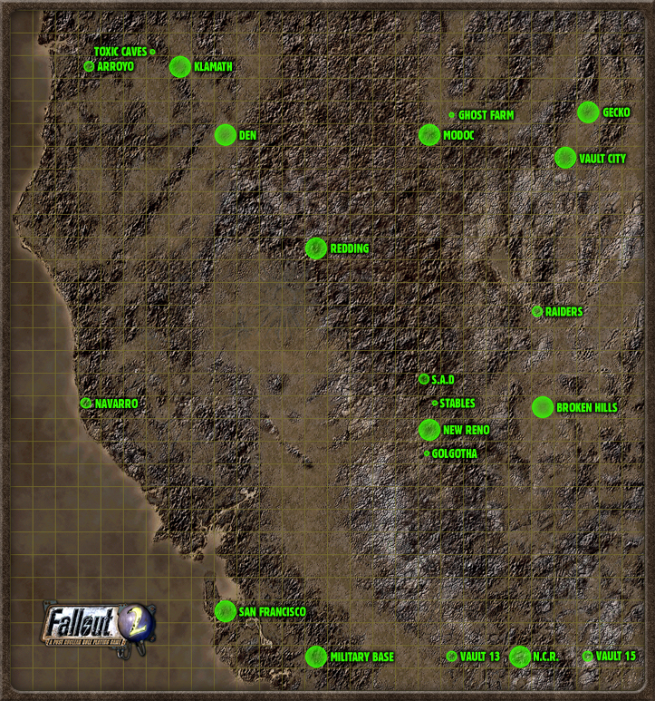 Karte von Fallout 2 (Quelle Fallout Wiki) - Fallout Classics ...